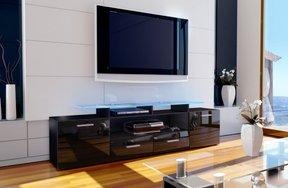 schwarzes tv lowboard tv m bel tv board f r fernseher. Black Bedroom Furniture Sets. Home Design Ideas